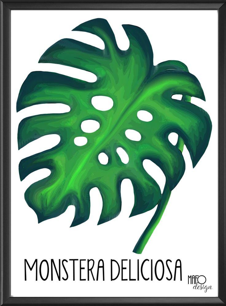 Plakat projektu MAFOdesign Monstera Deliciosa do kupienia tylko na www.mafodesign-sklep.pl #poster #monsteradeliciosa #monstera #design #decor #interior