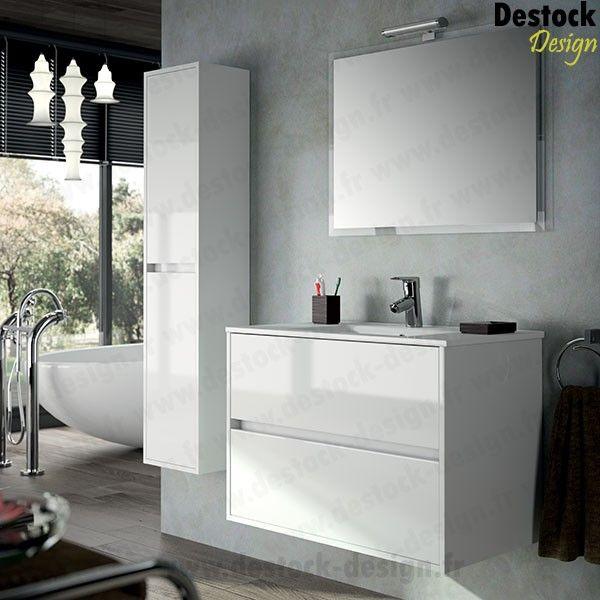 Meuble salle de bain noa blanc 90 cm suite parentale for Emaux de briare salle de bains
