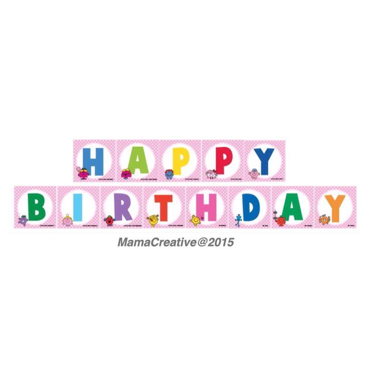 Mr Men & Little Miss -Flag banner  Facebook: MamaCreative