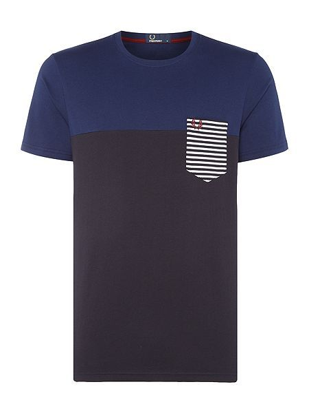 Stripe contrast pocket short sleeve t-shirt