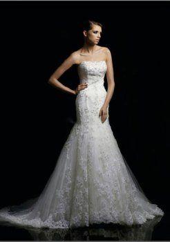 A-ligne sweetheart chapelle train robe de mariage en satin tulle
