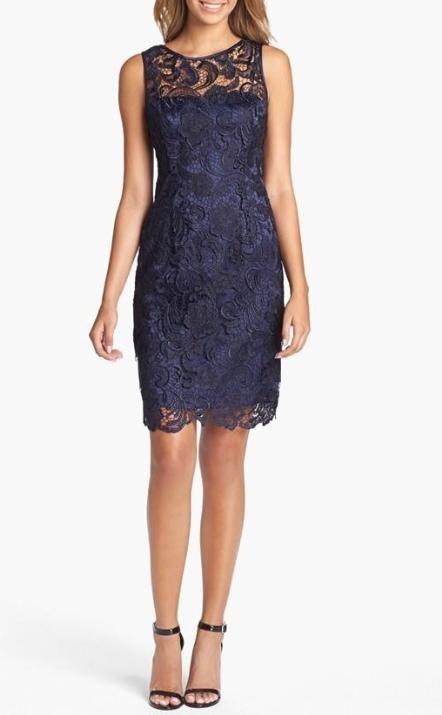 Navy bridesmaid | Lace sheath dress