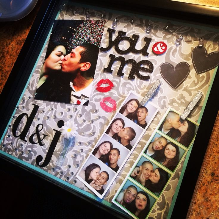 I decided I wanted to make a shadow box of me and my boyfriend and this is the end result! I can't wait to hang it on my wall! :-) #couplescrafts #boyfriend #couple #shadowbox