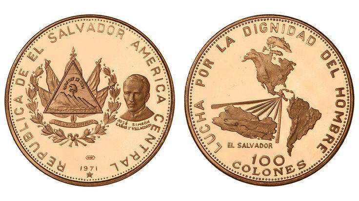 """Сальвадор. 100 колон 1971 года. Proof.  Редкая. Золото. 0,3414 oz. 0,900. 11,8 г. """"150-я годовщина независимости"""". Тираж 2750 шт. КМ#145. Незначительные волосяные риски на поле.  Стартовая цена: 37 000 р."""