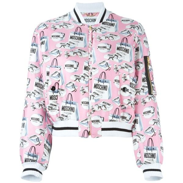 Moschino shopping bag print bomber jacket (£1,115) ❤ liked on Polyvore featuring outerwear, jackets, pink cropped jacket, pink silk jacket, stand collar jacket, flight jacket and pink bomber jacket