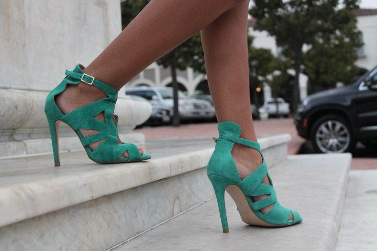 Beautiful teal sandals using Protect Your Pumps  | Actual customer photo protecting these designer shoes with Protect Your Pumps | Protect Your Pumps extends the life of your heels & keeps them looking new by protecting the bottom of your shoe from the ground | Order @ ProtectYourPumps.com