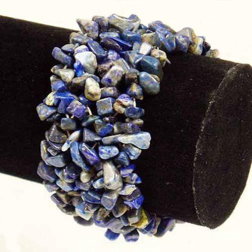 Lapis Lazuli Wide Style Chipped Gemstone Bracelet