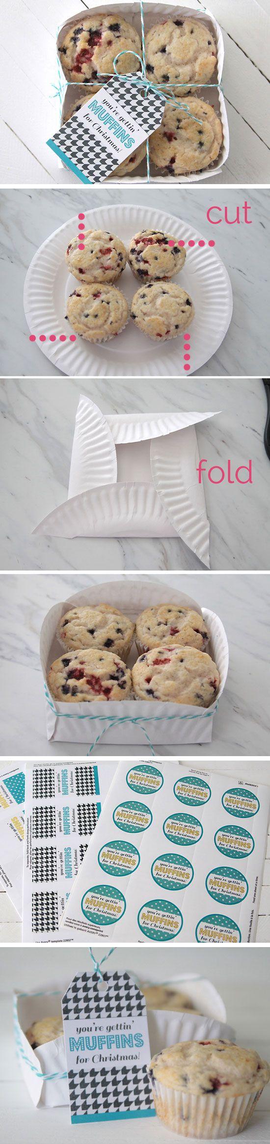 Muffins Geschenkkorb + Printables | 40 DIY Geschenkkorb Ideen für Weihnachten | Handmade Geschenk-Ideen für Weihnachten