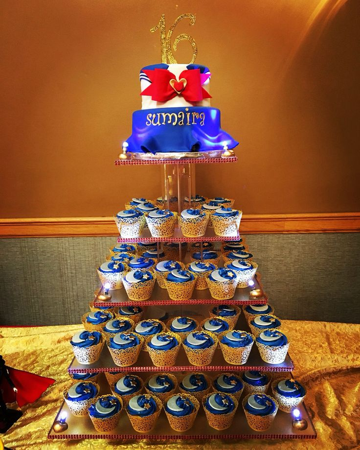 Sailor Moon Sweet 16 Cake and Cupcake Tower