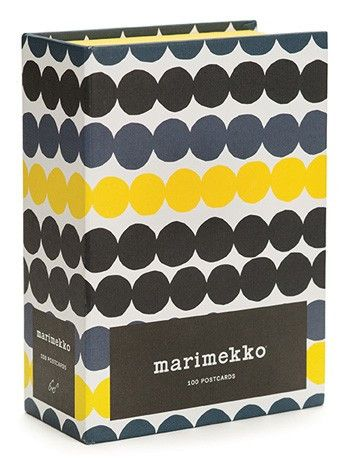 The Marimekko Postcards Set of 100 features a pair of 50 colorful, iconic designs for variety to fit any occasion. Prints featured are designed by: Maija Isola, Aino-Maija Metsola, Maija Louekari, Erj