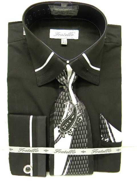 Fratello Black Pipe Trim Mens French Cuff Dress Shirt
