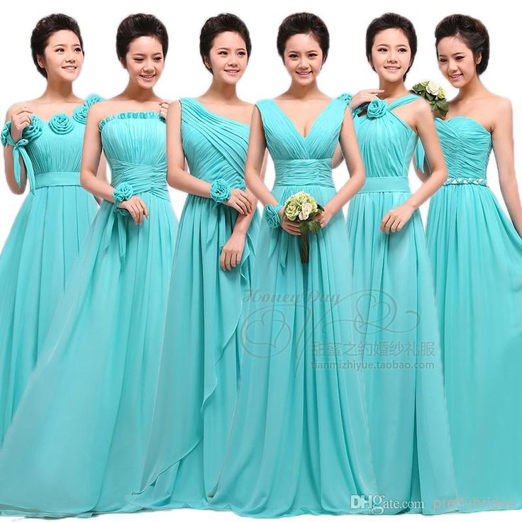 Chiffon bridesmaid dresses different styles same color
