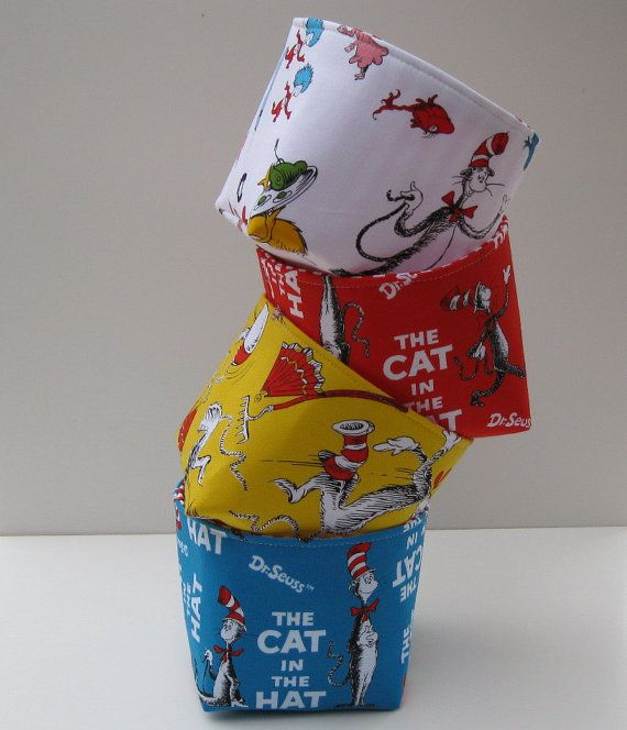 Mini Fabric Storage Organizer Bins Baskets  Dr Seuss by BaffinBags, $35.00. Gavman's room