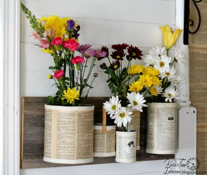 Repurpsed Tin Can Organizer by http://knickoftimeinteriors.blogspot.com/