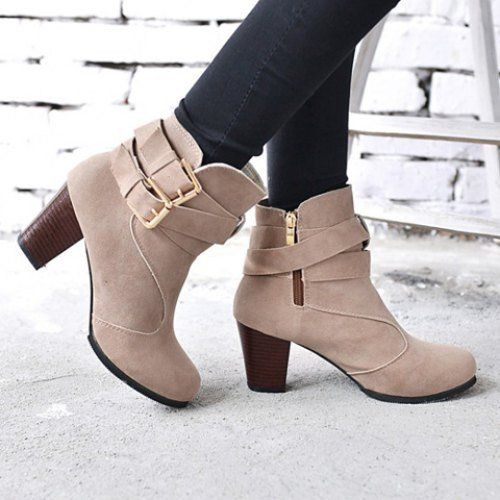 """Specification: Product Details Gender For Women Boot Type Fashion Boots Boot Height Ankle Boot Tube Height 10CM Toe Shape Round Toe Heel Type Chunky Heel Heel Height Range High(3-3.99"""") Closure Type Z"""