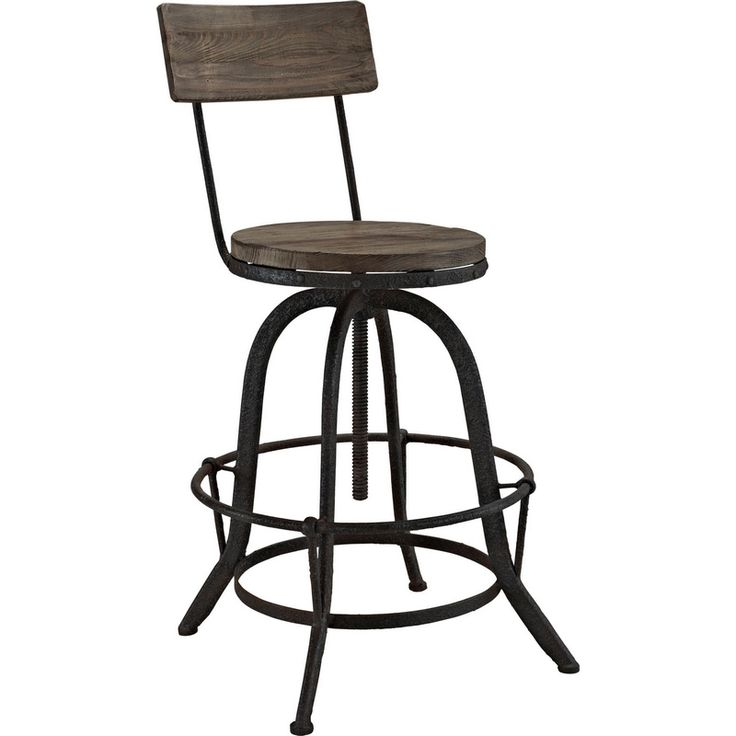 Modway Procure Bar Stool In Brown Pine Amp Cast Iron Wood