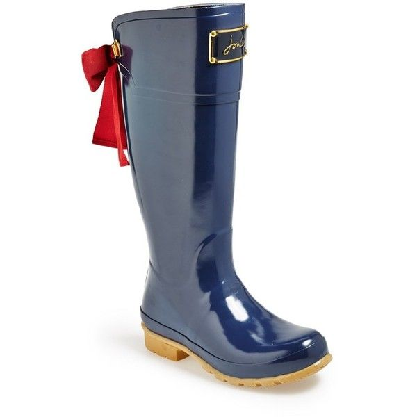 """Joules 'Evedon' Rain Boot, 1"""" heel ($165) ❤ liked on Polyvore featuring shoes, boots, french navy, knee-high boots, wellies boots, low heel knee high boots, wellington boots, joules boots and knee high rubber boots"""
