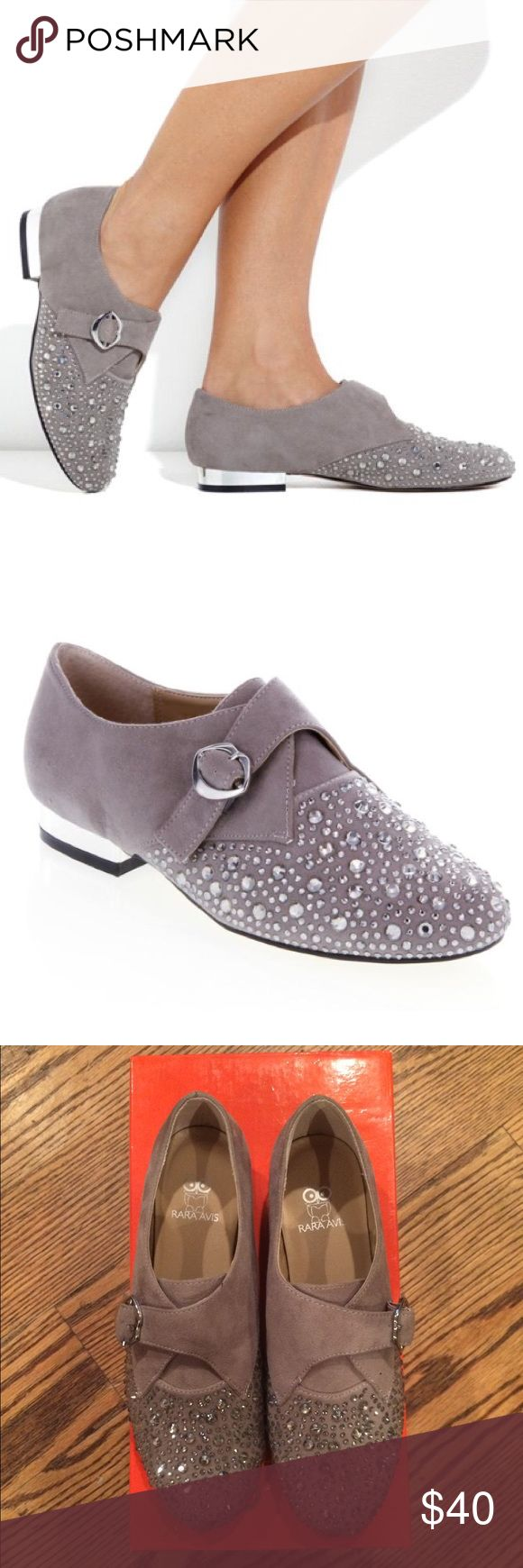 Rara Avis Rhinestone Studded Oxfords Rara Avis by Iris Apfel Rhinestone Studded Oxfords. Featured on HSN these oxfords are super cute and feature mirrored heels & lip shaped buckle closure. Rara Avis Shoes