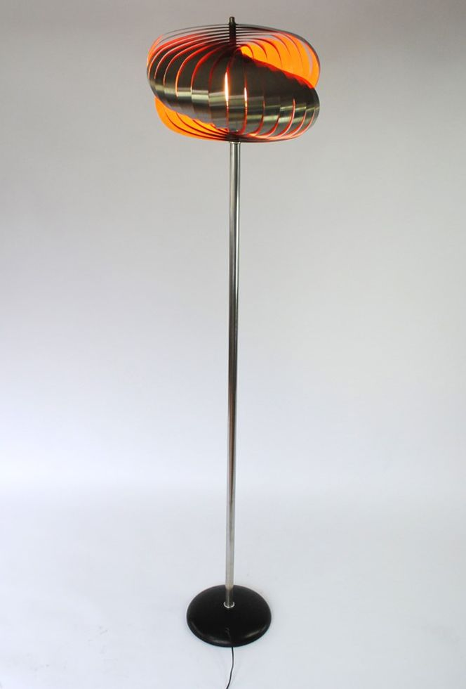 Henri Mathieu; Stainless Steel and Enameled Metal Floor Lamp for Lyfa, 1960s.