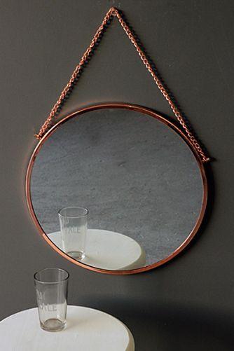 Bonlina Copper Circular Mirror on Chain