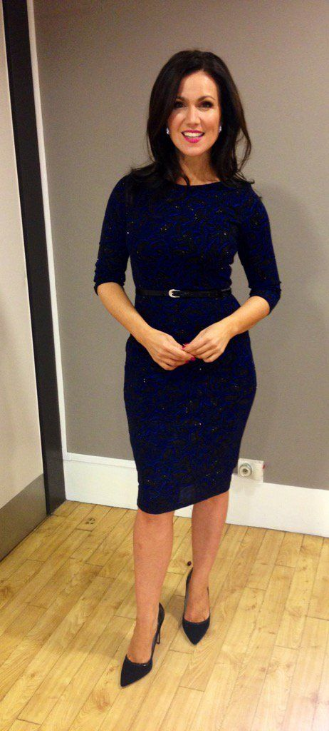 Susanna Reid looking pretty and shapely in an mandco.com blue dress and Zara.com shoes