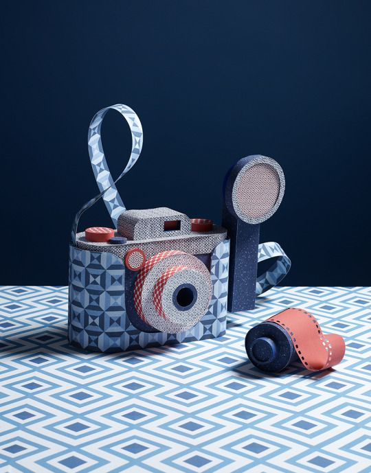 Hattie Newman:Camera and binoculars I made out of wallpapers for House and Garden magazine last year. Photographed by Victoria Ling