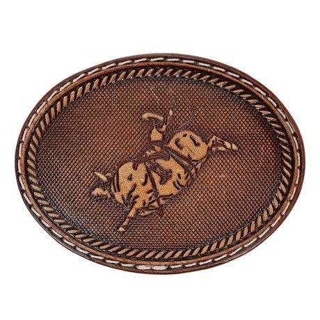 Fivela Montaria em Touro Oval Revestida em Couro - Pyramid Country 18757