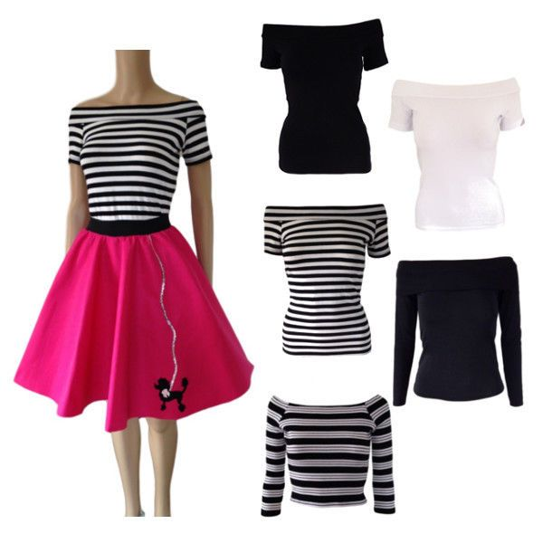 Ladies 50s Off The Shoulder BARDOT GREASE STYLE Tops Pink Ladies FANCY DRESS