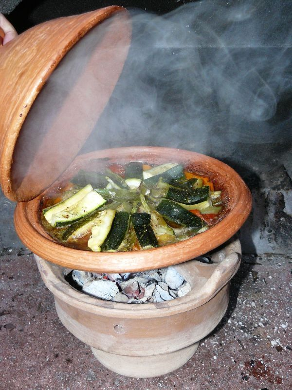 Vegetable tagine cooked on a Moroccan Majmar (clay charcoal brazier).