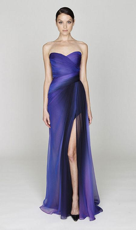 Monique Lhuillier blue ombre dress... this is just breath-takingly beautiful!!  change colors to peach w/ silver. or periwinkle with silver