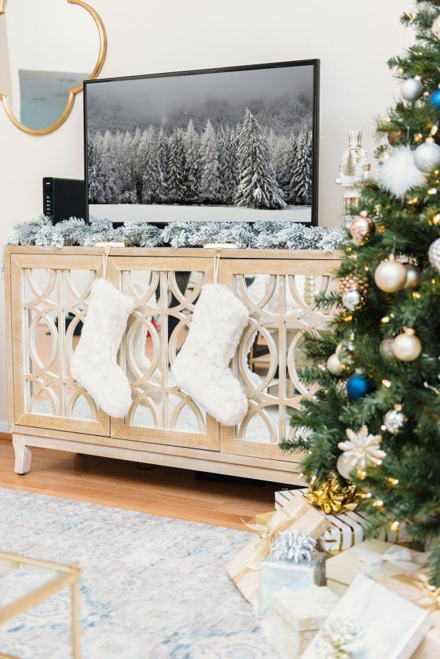 christmas decorations holiday decorations holiday decor ideas pier 1 mirella tv stand christmas tree faux fur stockings flocked garland