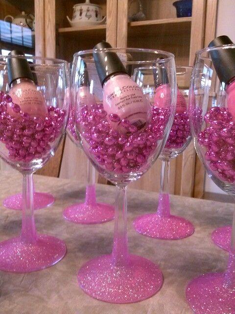 Bachelorette party favors nail polish glitter wine glass idea
