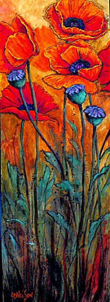 "CAROL NELSON FINE ART BLOG: ""Big Red"" acrylic poppy flower © Carol Nelson Fine Art"
