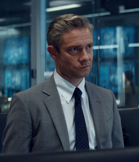 "As agent Everett Ross in ""Captain America: Civil War"". Do I sense a hair trend developing, Martin?"