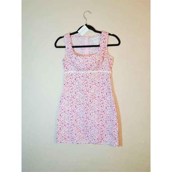 Short Fitted Tiny Pink Floral Pattern Short Dress Size Small -Mexican... ❤ liked on Polyvore featuring dresses, flower print dress, pink dress, short floral dresses, pink vintage dress and sexy mini dress