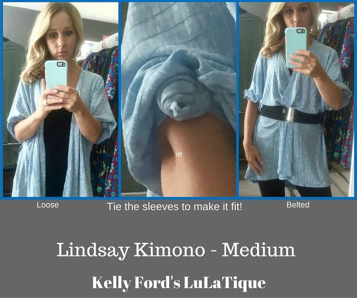"""LuLaRoe Lindsay Kimono. Many sizes can """"work"""". Knotting the sleeves is a cute way to style it and make it fit."""