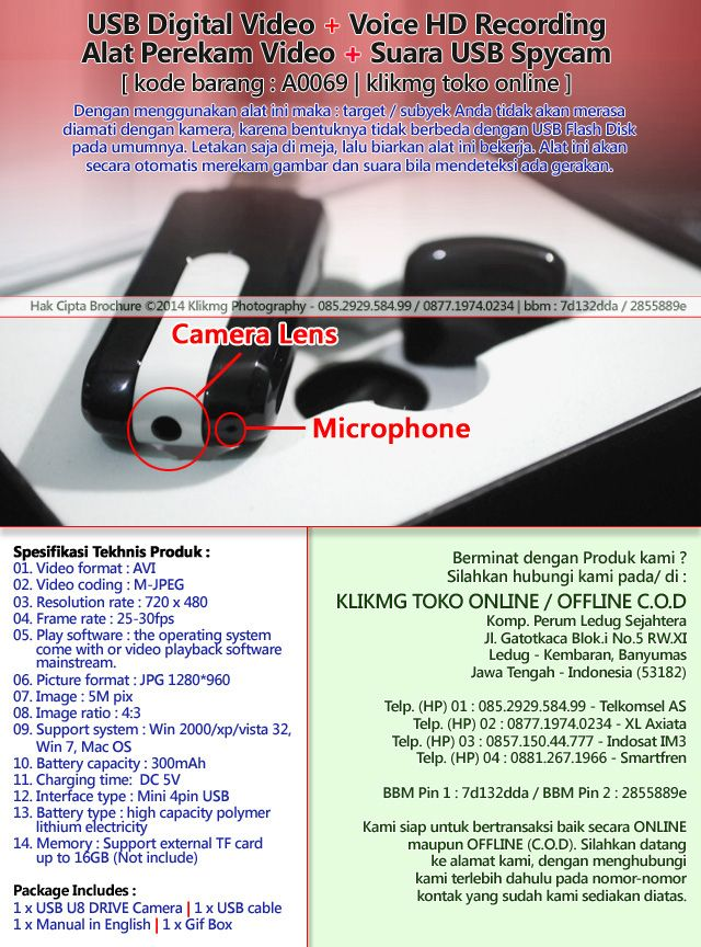 USB Digital Video + Voice HD Recording / Alat Perekam Video + Suara USB Spycam - Kode Barang : A0069