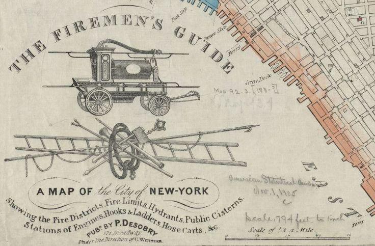 Этот фрагмент – из #карты 1834 года с длинным названием: «#Путеводитель пожарного: карта Нью-Йорка, показывающая пожарные участки, зоны повышенной пожароопасности, гидранты, общие резервуары воды, #пожарные расчеты, места хранения крюков и лестниц, шланговые тележки и т.д.». Этот расчет на конной тяге выглядит как несуразный механизм неизвестного назначения. Как же изменились времена! #Нью_Йорк