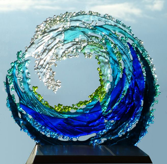 freestanding tubewave sculpture in wood stand approx 300mm high