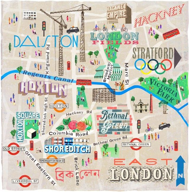 Map of East London by Anna Simmons for National Geographic Traveller