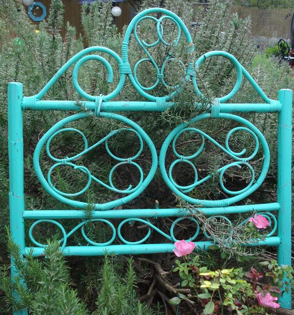 My Thrift Store Addiction : Garden Whimsy: Repurposed Headboard as Trellis
