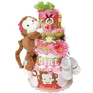 Monkey Diaper Cake ~ I wanna make this for my best friend who is having a girl!