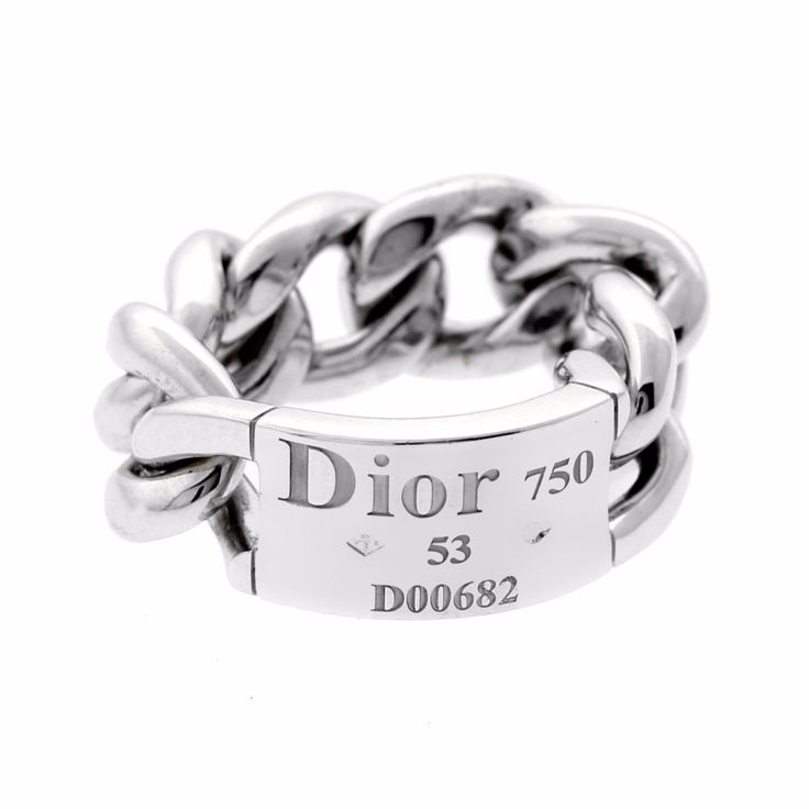 Dior White Gold Chain Gourmette Link Ring   Opulent Jewelers   OpulentJewelers.com