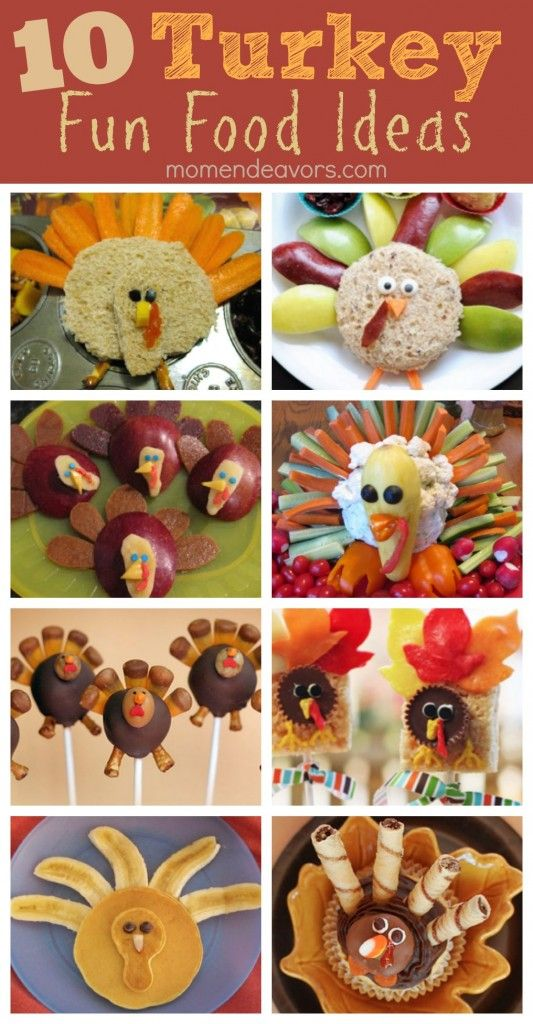 10 food presentation ideas centered around Turkeys! Pictures and how-tos.  Have fun with this one.