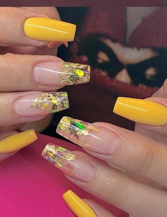 45 Stylish Yellow Nail Art Designs for Women 2018. Looking for best styles  of nails to show off in 2018? There are so many different ideas of nail art  ... - 45 Stylish Yellow Nail Art Designs For Women 2018 Nail Designs