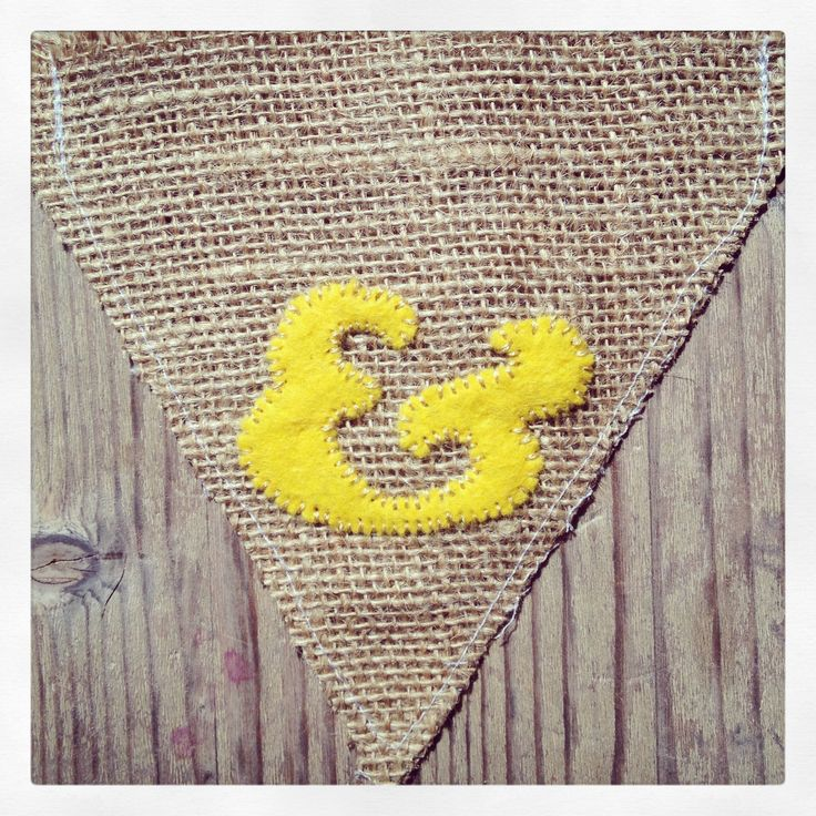 Rustic Yellow Hessian Burlap Personalised Wedding Bunting Ampersand
