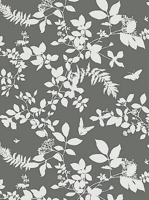 Schumacher shadow vine charcoal wallpaper vines for Schumacher chenonceau charcoal wallpaper