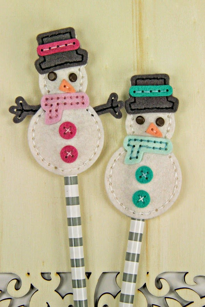 Snowman Pencil Toppers by Erin Lincoln for Papertrey Ink (October 2014)