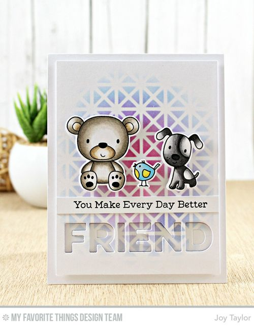 Handmade card from Joy Taylor featuring Friends Furever stamp set and Die-namics #mftstamps