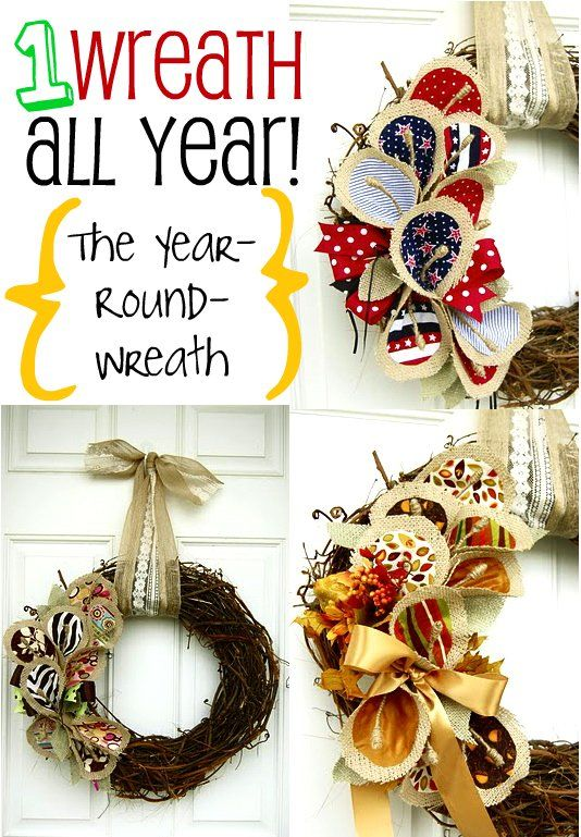 No more piles of bulky wreaths! Just Velcro interchangeables!